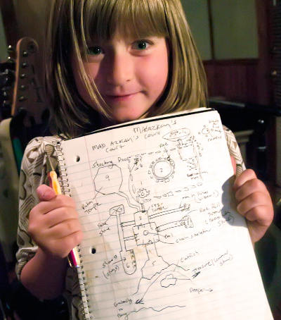 Kira holding the original sketch for the dungeon map of Perils